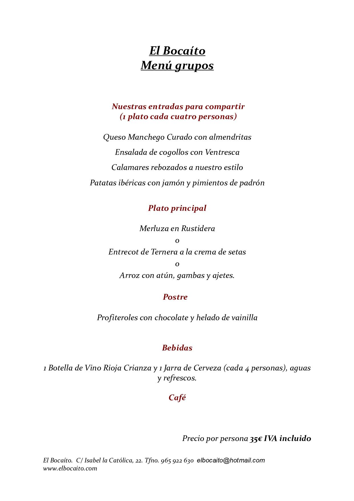Menu grupos Alicante restaurante